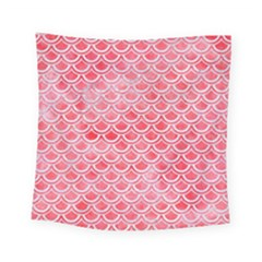 Scales2 White Marble & Red Watercolor Square Tapestry (small)