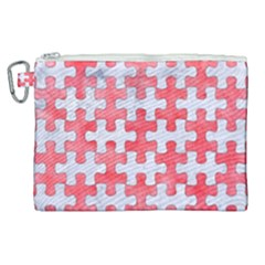 Puzzle1 White Marble & Red Watercolor Canvas Cosmetic Bag (xl) by trendistuff