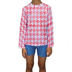 Houndstooth1 White Marble & Red Watercolor Kids  Long Sleeve Swimwear by trendistuff