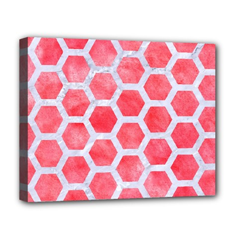 Hexagon2 White Marble & Red Watercolor Deluxe Canvas 20  X 16   by trendistuff