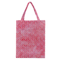 Hexagon1 White Marble & Red Watercolor Classic Tote Bag by trendistuff