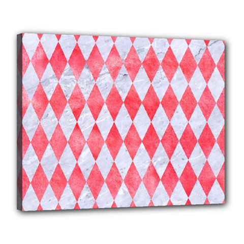 Diamond1 White Marble & Red Watercolor Canvas 20  X 16  by trendistuff