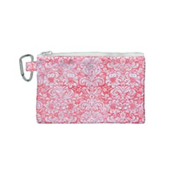 Damask2 White Marble & Red Watercolor Canvas Cosmetic Bag (small) by trendistuff