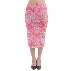 Damask1 White Marble & Red Watercolor Midi Pencil Skirt by trendistuff