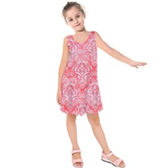 Damask1 White Marble & Red Watercolor Kids  Sleeveless Dress