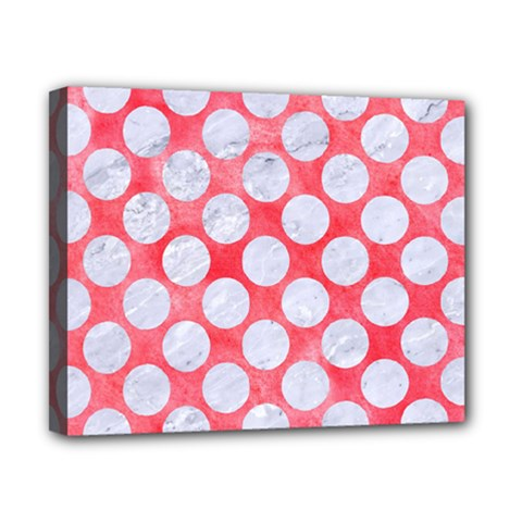 Circles2 White Marble & Red Watercolor Canvas 10  X 8  by trendistuff
