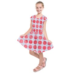 Circles1 White Marble & Red Watercolor (r) Kids  Short Sleeve Dress