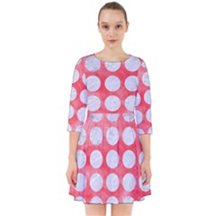 Circles1 White Marble & Red Watercolor Smock Dress