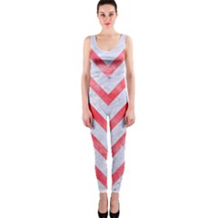 Chevron9 White Marble & Red Watercolor (r) One Piece Catsuit