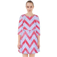 Chevron9 White Marble & Red Watercolor (r) Smock Dress
