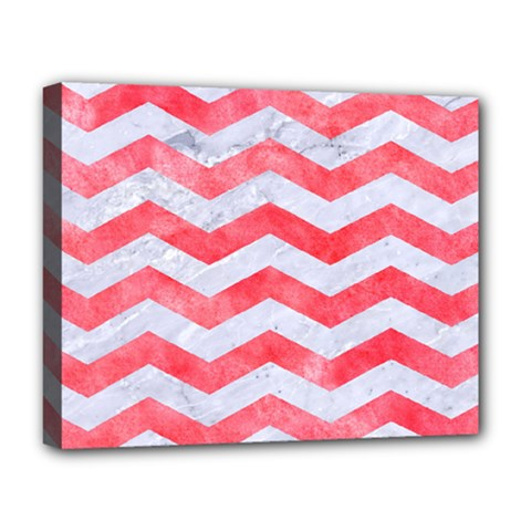 Chevron3 White Marble & Red Watercolor Deluxe Canvas 20  X 16   by trendistuff