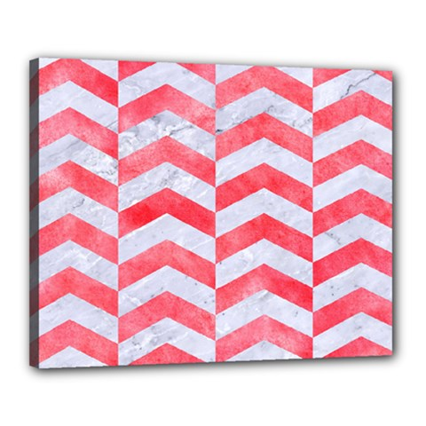 Chevron2 White Marble & Red Watercolor Canvas 20  X 16