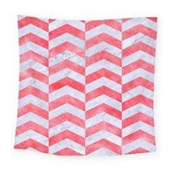 Chevron2 White Marble & Red Watercolor Square Tapestry (large) by trendistuff
