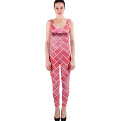 Brick2 White Marble & Red Watercolor One Piece Catsuit