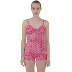 Brick2 White Marble & Red Watercolor Tie Front Two Piece Tankini