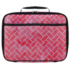 Brick2 White Marble & Red Watercolor Full Print Lunch Bag