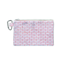 Brick1 White Marble & Red Watercolor (r) Canvas Cosmetic Bag (small) by trendistuff