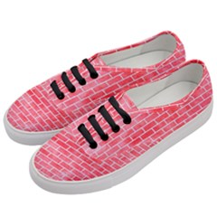 Brick1 White Marble & Red Watercolor Women s Classic Low Top Sneakers by trendistuff
