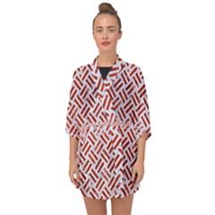 Woven2 White Marble & Red Marble (r) Half Sleeve Chiffon Kimono by trendistuff