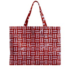 Woven1 White Marble & Red Marble Zipper Mini Tote Bag by trendistuff