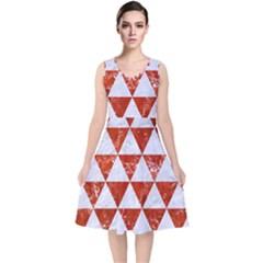 Triangle3 White Marble & Red Marble V Neck Midi Sleeveless Dress