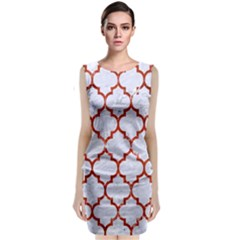 Tile1 White Marble & Red Marble (r) Classic Sleeveless Midi Dress