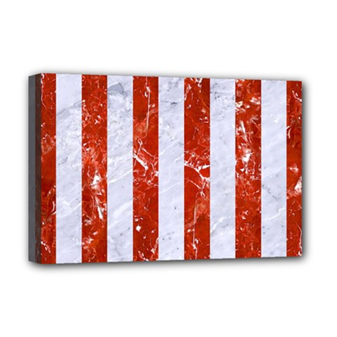 Stripes1 White Marble & Red Marble Deluxe Canvas 18  X 12   by trendistuff
