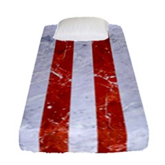 Stripes1 White Marble & Red Marble Fitted Sheet (single Size) by trendistuff