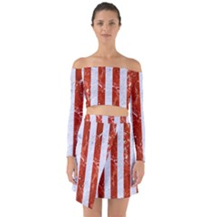 Stripes1 White Marble & Red Marble Off Shoulder Top With Skirt Set