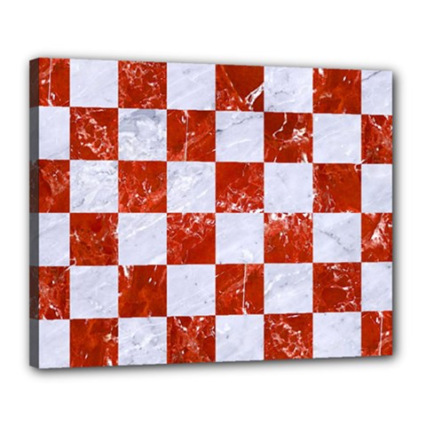 Square1 White Marble & Red Marble Canvas 20  X 16  by trendistuff