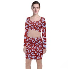 Skin5 White Marble & Red Marble (r) Long Sleeve Crop Top & Bodycon Skirt Set