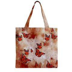 Adorable Butterflies, Terra Zipper Grocery Tote Bag by MoreColorsinLife
