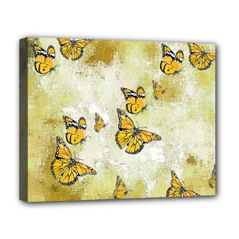Adorable Butterflies, Yellow Deluxe Canvas 20  X 16   by MoreColorsinLife