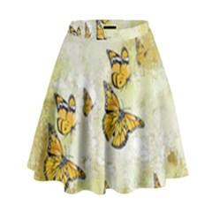 Adorable Butterflies, Yellow High Waist Skirt by MoreColorsinLife