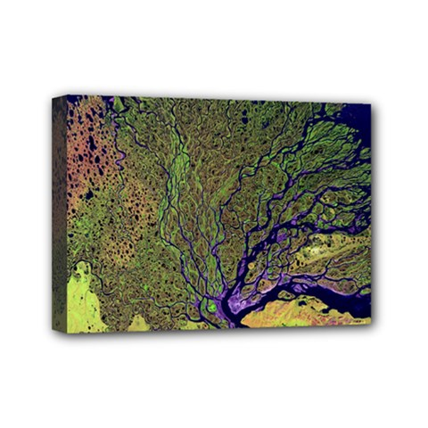 Lena River Delta A Photo Of A Colorful River Delta Taken From A Satellite Mini Canvas 7  X 5