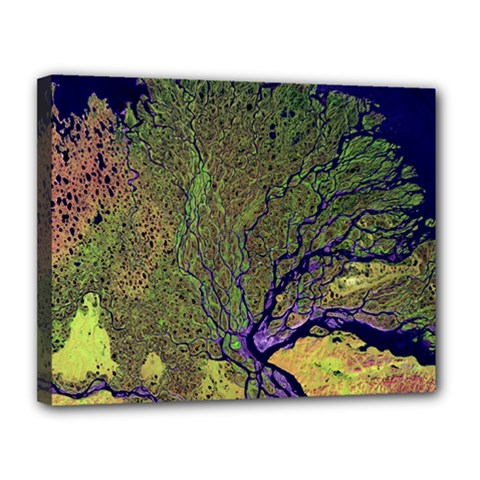 Lena River Delta A Photo Of A Colorful River Delta Taken From A Satellite Canvas 14  X 11  by Simbadda