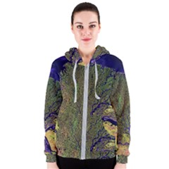 Lena River Delta A Photo Of A Colorful River Delta Taken From A Satellite Women s Zipper Hoodie