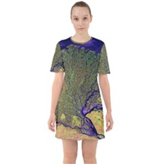 Lena River Delta A Photo Of A Colorful River Delta Taken From A Satellite Sixties Short Sleeve Mini Dress