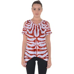 Skin2 White Marble & Red Marble (r) Cut Out Side Drop Tee