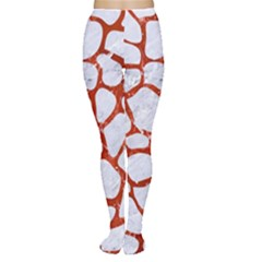 Skin1 White Marble & Red Marble Women s Tights