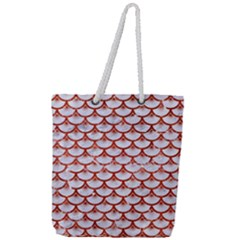 Scales3 White Marble & Red Marble (r) Full Print Rope Handle Tote (large) by trendistuff
