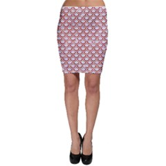 Scales2 White Marble & Red Marble (r) Bodycon Skirt