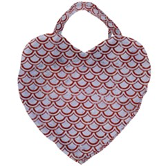Scales2 White Marble & Red Marble (r) Giant Heart Shaped Tote by trendistuff