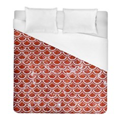 Scales2 White Marble & Red Marble Duvet Cover (full/ Double Size) by trendistuff
