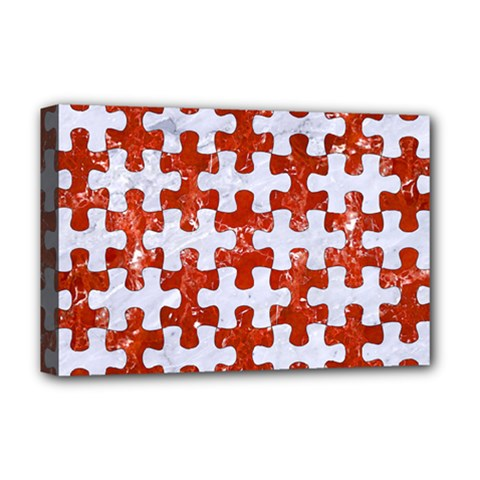 Puzzle1 White Marble & Red Marble Deluxe Canvas 18  X 12