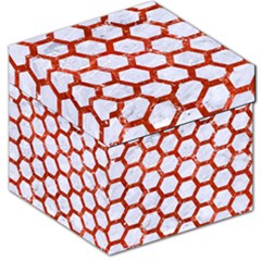 Hexagon2 White Marble & Red Marble (r) Storage Stool 12   by trendistuff
