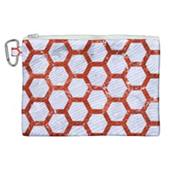 Hexagon2 White Marble & Red Marble (r) Canvas Cosmetic Bag (xl) by trendistuff