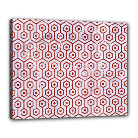 Hexagon1 White Marble & Red Marble (r) Canvas 20  X 16  by trendistuff