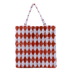 Diamond1 White Marble & Red Marble Grocery Tote Bag by trendistuff
