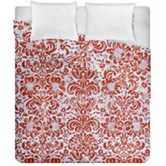 Damask2 White Marble & Red Marble (r) Duvet Cover Double Side (california King Size) by trendistuff